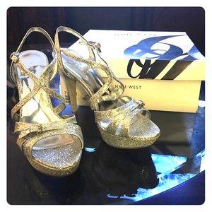 Nine West silver heels